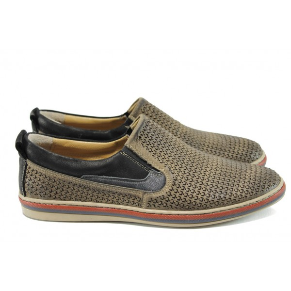 Мъжки ортопедични обувки от естествена кожа с перфорация МИ 42 кафе   Мъжки ежедневни обувки   MES.BG