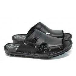 Анатомични мъжки чехли от естествена кожа МИ 101 черен | Мъжки чехли и сандали | MES.BG