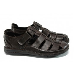Мъжки ортопедични сандали от естествена кожа МИ 205-4391 кафяв | Мъжки чехли и сандали | MES.BG