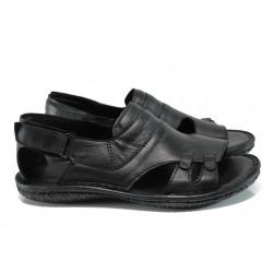 Мъжки ортопедични сандали от естествена кожа МИ 206-4391 черен гигант | Мъжки чехли и сандали | MES.BG