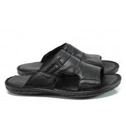 Мъжки ортопедични чехли от естествена кожа МИ 77 черен гигант | Мъжки чехли и сандали | MES.BG
