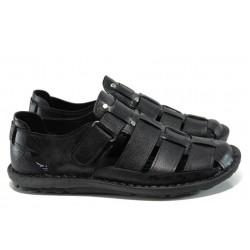 Мъжки ортопедични сандали от естествена кожа МИ 200 черен | Мъжки чехли и сандали | MES.BG