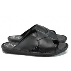 Мъжки ортопедични чехли от естествена кожа МИ 100 черен | Мъжки чехли и сандали | MES.BG