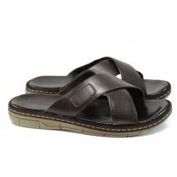 Анатомични мъжки чехли от естествена кожа МИ 636-160 кафяв | Мъжки чехли и сандали | MES.BG