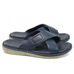 Анатомични мъжки чехли от естествена кожа МИ 636-160 син| Мъжки чехли и сандали | MES.BG