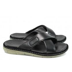Анатомични мъжки чехли от естествена кожа МИ 636-160 черен| Мъжки чехли и сандали | MES.BG