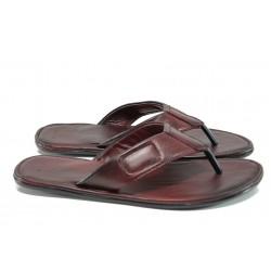 Анатомични мъжки чехли от естествена кожа МИ 642-100 бордо | Мъжки чехли и сандали | MES.BG