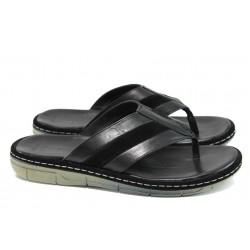 Анатомични мъжки чехли от естествена кожа МИ 754-160 черен | Мъжки чехли и сандали | MES.BG