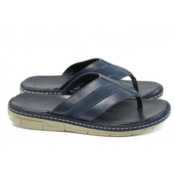 Анатомични мъжки чехли от естествена кожа МИ 754-160 син | Мъжки чехли и сандали | MES.BG