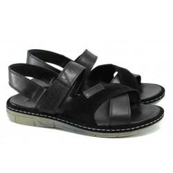 Анатомични мъжки сандали от естествена кожа МИ 736-160 черен | Мъжки сандали | MES.BG