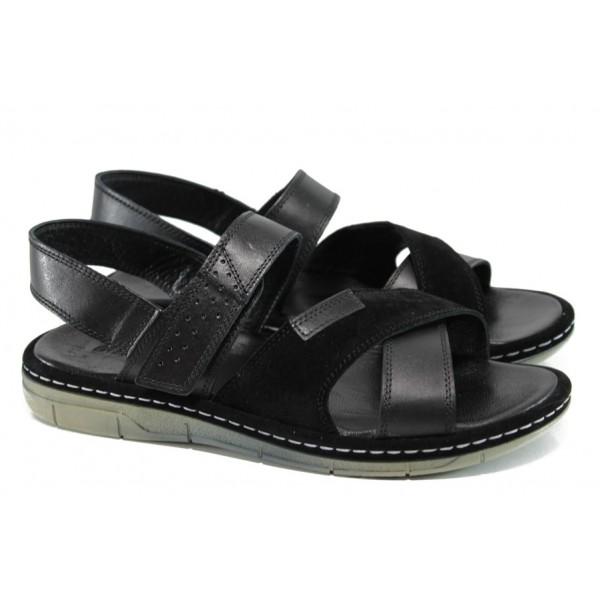 Анатомични мъжки сандали от естествена кожа МИ 736-160 черен   Мъжки сандали   MES.BG