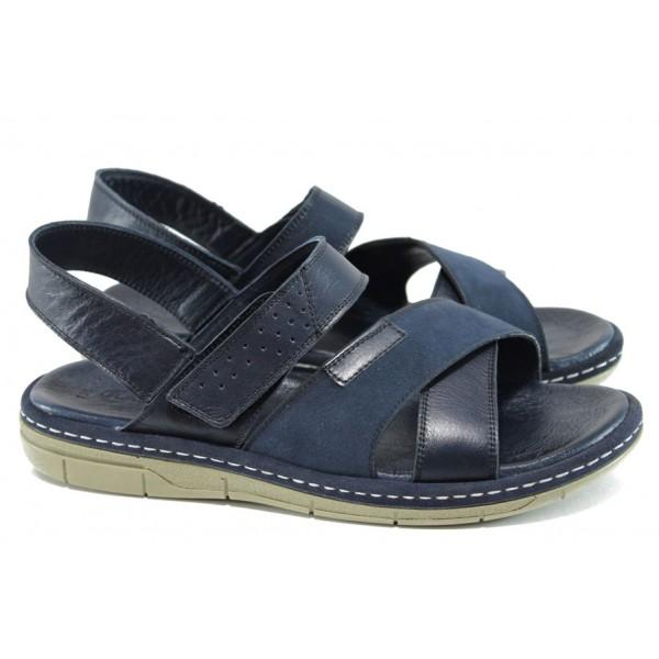 Анатомични мъжки сандали от естествена кожа МИ 736-160 син   Мъжки сандали   MES.BG