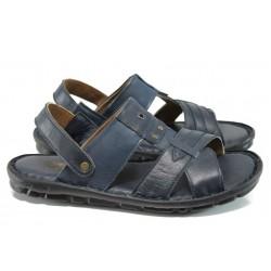 Анатомични мъжки чехли-сандали от естествена кожа МИ 1411 син | Мъжки чехли и сандали | MES.BG