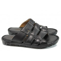 Анатомични мъжки чехли от естествена кожа МИ 1425 черен | Мъжки чехли и сандали | MES.BG