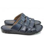 Анатомични мъжки чехли от естествена кожа МИ 1425 син| Мъжки чехли и сандали | MES.BG