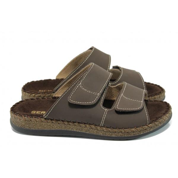 Български ортопедични мъжки чехли от естествена кожа ГР 8841 кафяв | Мъжки чехли и сандали | MES.BG