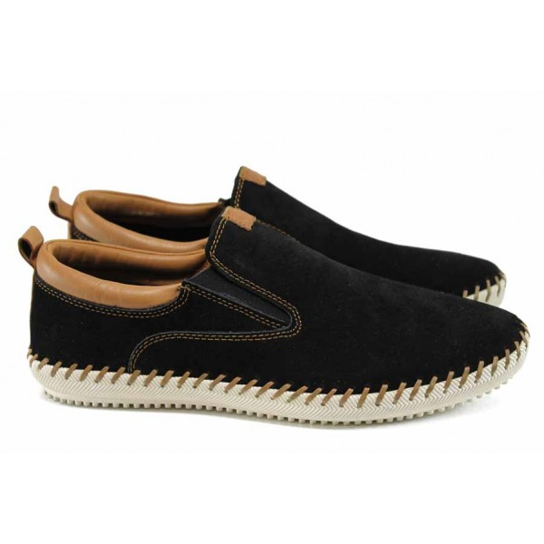 Мъжки мокасини от естествен велур Jump 11181 черен | Мъжки ежедневни обувки | MES.BG