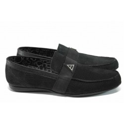 Мъжки мокасини от естествен набук Jump 11251 черен | Мъжки ежедневни обувки | MES.BG