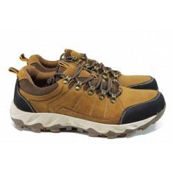 Мъжки спортни обувки от естествена кожа АБ 161217-4 кафяв | Мъжки ежедневни обувки | MES.BG
