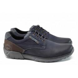 Анатомични български обувки от естествена кожа МЙ 83355 син | Мъжки ежедневни обувки | MES.BG