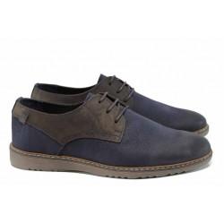 Анатомични мъжки обувки от естествена кожа МЙ 83331 син | Мъжки ежедневни обувки | MES.BG