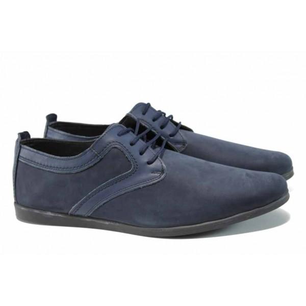 Анатомични мъжки обувки от естествен набук ЛД 42 син | Мъжки ежедневни обувки | MES.BG