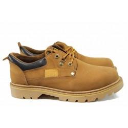 Анатомични мъжки обувки от естествен набук МИ 034 жълт | Мъжки ежедневни обувки | MES.BG