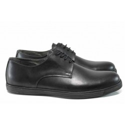 Анатомични мъжки обувки от естествена кожа МИ 60 черен гигант | Мъжки ежедневни обувки | MES.BG