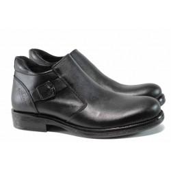 Мъжки боти от естествена кожа с топъл хастар ЛД 105-1 черен | Мъжки боти | MES.BG