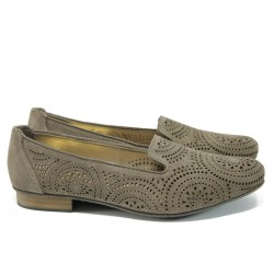 Дамски обувки от естествена кожа Rieker 51976-42 таупе ANTISTRESS | Летни немски обувки | MES.BG