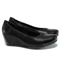 Дамски обувки на платформа от естествена кожа Rieker L4764-00 черен ANTISTRESS | Летни немски обувки | MES.BG
