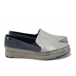 Юношески спортин обувки от естествена кожа с мемори пяна Marco Tozzi 2-24600-28 сребро-син | Равни немски обувки | MES.BG