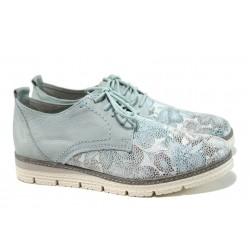 Равни дамски обувки от естествена кожа с мемори пяна Marco Tozzi 2-23724-28 св.син | Равни немски обувки | MES.BG