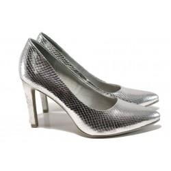 Елегантни дамски обувки Marco Tozzi 2-22415-28 сребро | Немски обувки на ток | MES.BG