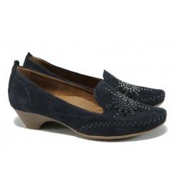 Дамски ортопедични обувки от естествен велур Jana 8-22307-28Н т.син | Немски обувки на ток | MES.BG