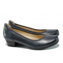 Дамски обувки от естествена кожа Caprice 9-22304-28 т.син ANTISHOKK | Немски обувки на ток | MES.BG