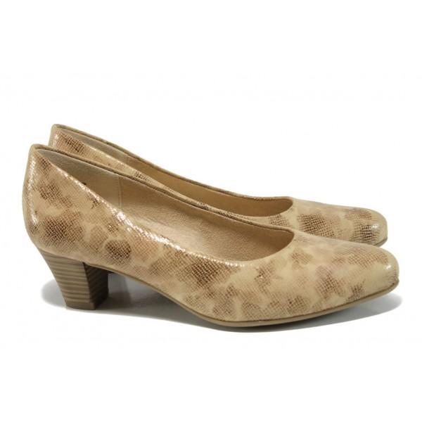 Дамски обувки от естествена кожа Caprice 9-22306-28G бежов ANTISHOKK   Немски обувки на ток   MES.BG