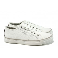 Дамски спортни обувки с мемори пяна S.Oliver 5-23640-28 бял | Равни немски обувки | MES.BG