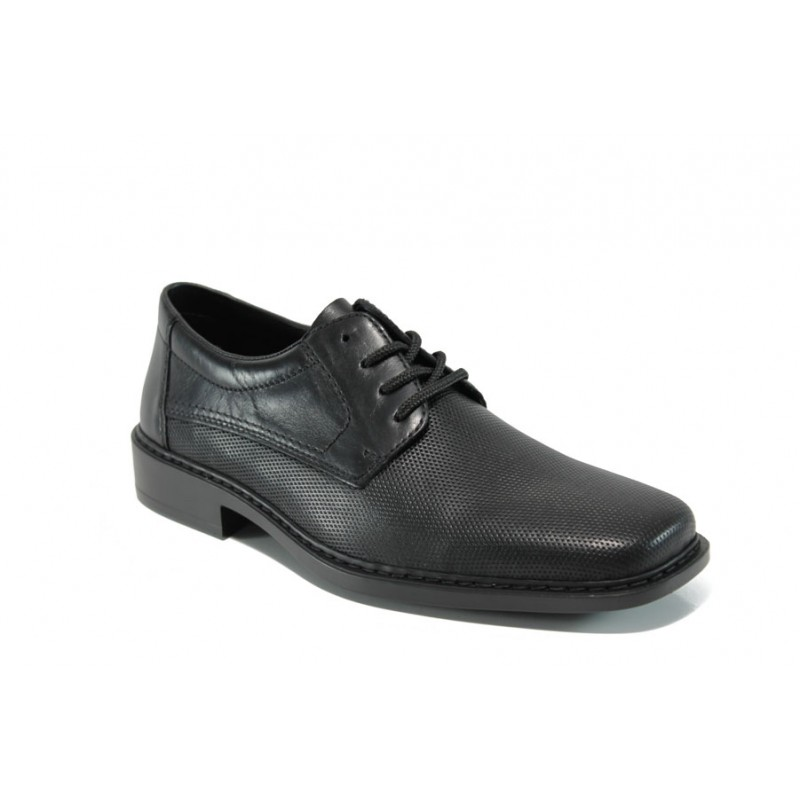 Мъжки обувки от естествена кожа Rieker B0819-01 черен ANTISTRESS   Мъжки немски обувки   MES.BG