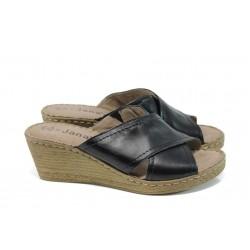 Анатомични дамски чехли от естествена кожа Jana 8-27212-28Н черен | Дамски немски чехли | MES.BG