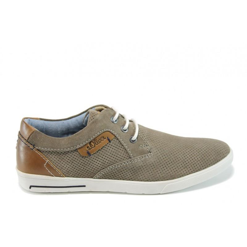 Летни мъжки обувки от естествен набук S.Oliver 5-13626-28 таупе | Мъжки немски обувки | MES.BG