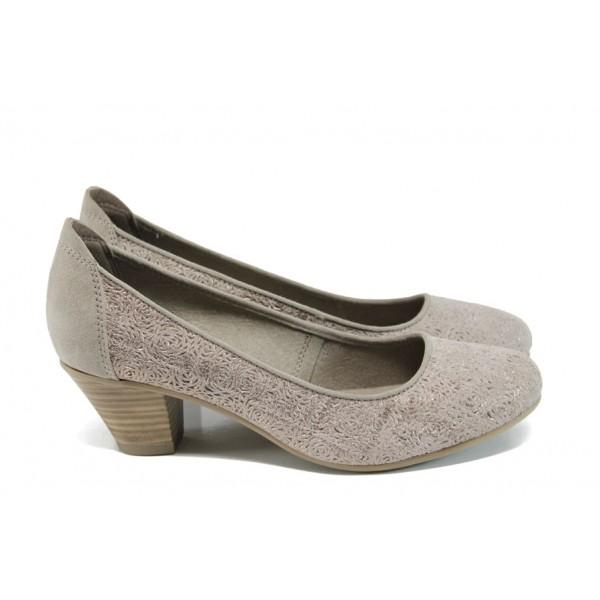 Дамски обувки на ток от естествен набук Jana 8-22304-28Н таупе | Немски обувки на ток | MES.BG