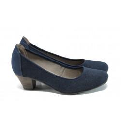 Дамски обувки на ток от естествен набук Jana 8-22301-28Н т.син | Немски обувки на ток | MES.BG