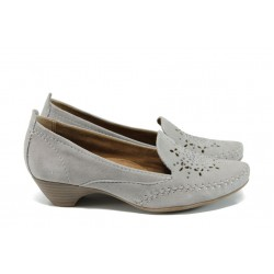 Дамски ортопедични обувки от естествен велур Jana 8-22307-28Н сив | Немски обувки на ток | MES.BG