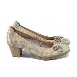 Дамски обувки от естествена кожа с мемори пяна Marco Tozzi 2-22406-28 бежов | Немски обувки на ток | MES.BG