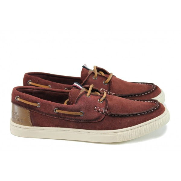 Летни мъжки обувки от естествен набук S.Oliver 5-13608-28 бордо | Мъжки немски обувки | MES.BG