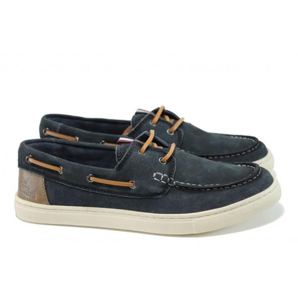 Летни мъжки обувки от естествен набук S.Oliver 5-13608-28 т.син | Мъжки немски обувки | MES.BG