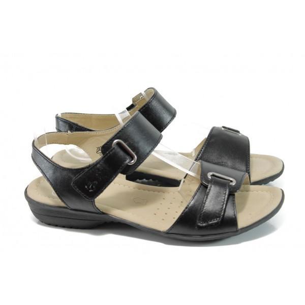 Дамски сандали от естествена кожа Caprice 9-28705-28G черен ANTISHOKK | Равни немски сандали | MES.BG