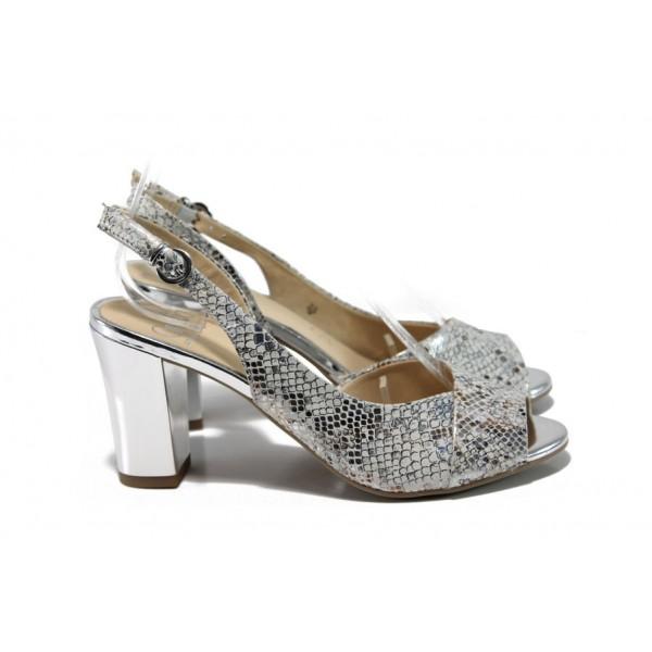 Дамски сандали от естествена кожа Caprice 9-28304-28 бял-сребро | Немски сандали на ток | MES.BG
