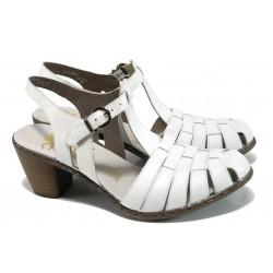 Дамски сандали от естествена кожа Rieker 40978-80 бял ANTISTRESS | Немски сандали на ток | MES.BG